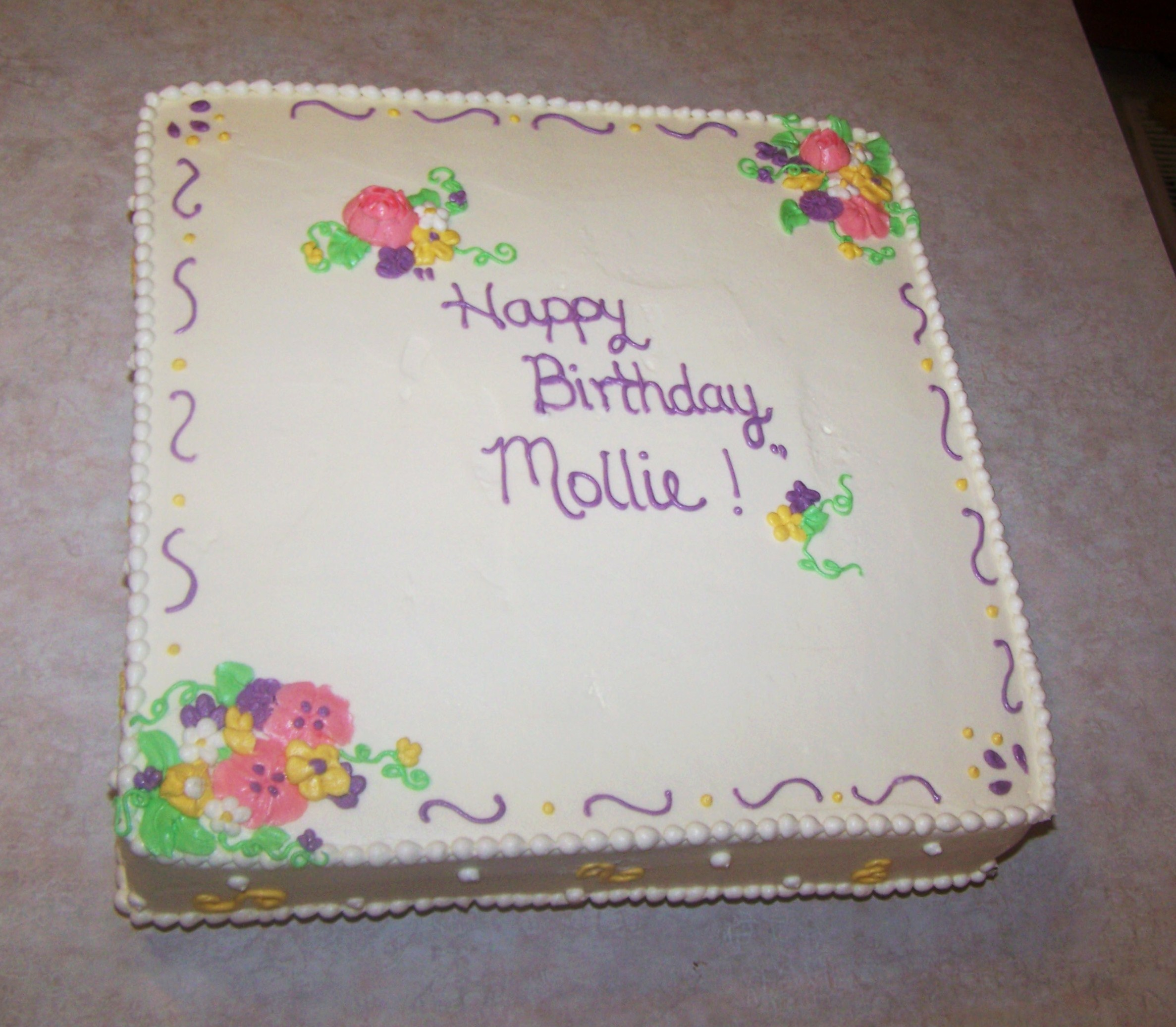 Butter Cream Flowers Birthday Cake Beth Anns